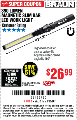 Harbor Freight Tools Coupons, Harbor Freight Coupon, HF Coupons-BRAUN 390 Lumen Magnetic Slim Bar Folding LED Work Light for $26.99