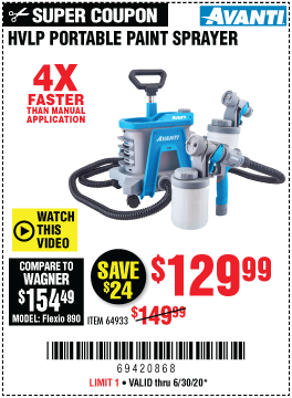Harbor Freight Tools Coupons, Harbor Freight Coupon, HF Coupons-AVANTI Portable HVLP Paint & Stain Sprayer for $129.99