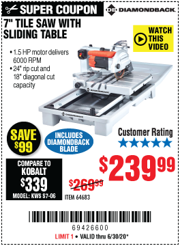 Harbor Freight Tools Coupons, Harbor Freight Coupon, HF Coupons-DIAMONDBACK 7 in. Heavy Duty Wet Tile Saw with Sliding Table for $239.99