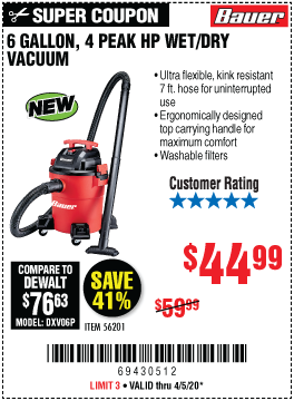 Harbor Freight Tools Coupons, Harbor Freight Coupon, HF Coupons-BAUER 6 Gallon 4 Peak Horsepower Wet/Dry Vacuum for $44.99