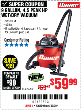 Harbor Freight Tools Coupons, Harbor Freight Coupon, HF Coupons-BAUER 9 Gallon 4.5 Peak Horsepower Wet/Dry Vacuum for $59.99