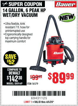 Harbor Freight Tools Coupons, Harbor Freight Coupon, HF Coupons-BAUER 14 Gallon Wet/Dry Vacuum for $89.99