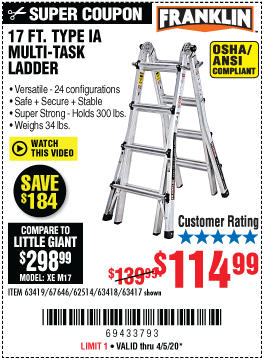 Harbor Freight Tools Coupons, Harbor Freight Coupon, HF Coupons-FRANKLIN 17 Ft. Type IA Multi-Task Ladder for $114.99