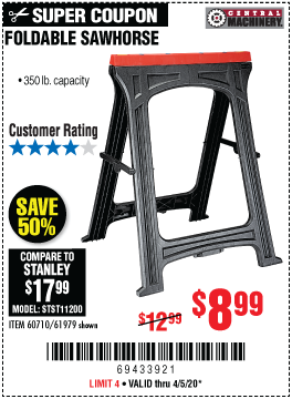 Harbor Freight Tools Coupons, Harbor Freight Coupon, HF Coupons-CENTRAL MACHINERY Foldable Sawhorse for $8.99