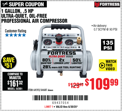 Harbor Freight Tools Coupons, Harbor Freight Coupon, HF Coupons-FORTRESS 1 Gallon 0.5 HP 135 PSI Ultra Quiet Oil-Free Professional Air Compressor for $109.99