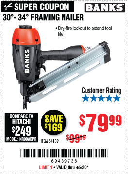 Harbor Freight Tools Coupons, Harbor Freight Coupon, HF Coupons-BANKS 30�-34� Framing Nailer for $79.99