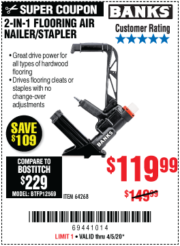 Harbor Freight Tools Coupons, Harbor Freight Coupon, HF Coupons-BANKS 2-in-1 Flooring Air Nailer/Stapler for $119.99