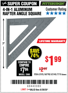 Harbor Freight Tools Coupons, Harbor Freight Coupon, HF Coupons-PITTSBURGH 4-in-1 Aluminum Rafter Angle Square for $1.99