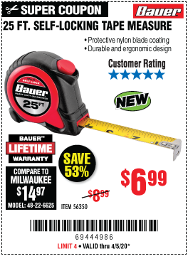 Harbor Freight Tools Coupons, Harbor Freight Coupon, HF Coupons-BAUER 25 ft. Self-Locking Tape Measure for $6.99