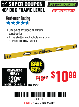 Harbor Freight Tools Coupons, Harbor Freight Coupon, HF Coupons-PITTSBURGH 48 in. Box Frame Level for $10.99