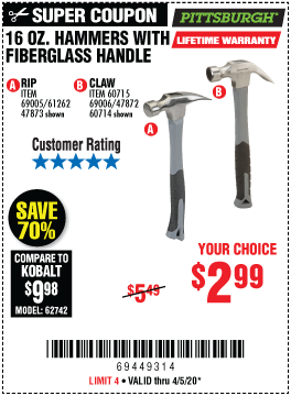 Harbor Freight Tools Coupons, Harbor Freight Coupon, HF Coupons-PITTSBURGH 16 oz. Fiberglass Rip Hammer for $2.99