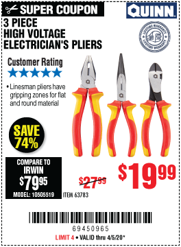 Harbor Freight Tools Coupons, Harbor Freight Coupon, HF Coupons-QUINN High Voltage Electrician's Pliers 3 Pc. for $19.99