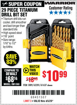 Harbor Freight Tools Coupons, Harbor Freight Coupon, HF Coupons-WARRIOR Titanium Drill Bit Set 29 Pc for $10.99