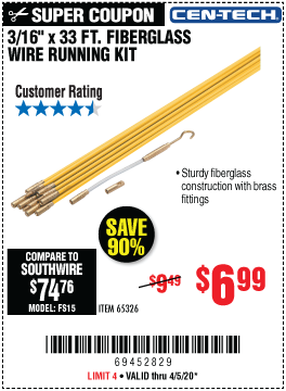 Harbor Freight Tools Coupons, Harbor Freight Coupon, HF Coupons-CEN-TECH 3/16 in. x 33 ft. Fiberglass Wire Running Kit for $6.99
