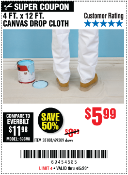 Harbor Freight Tools Coupons, Harbor Freight Coupon, HF Coupons-HFT 4 Ft. x 12 Ft. Canvas Drop Cloth for $5.99