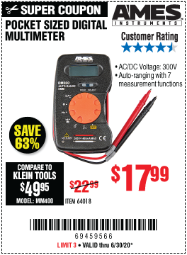 Harbor Freight Tools Coupons, Harbor Freight Coupon, HF Coupons-AMES DM300 Pocket Sized Digital Multimeter for $17.99