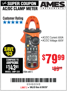 Harbor Freight Tools Coupons, Harbor Freight Coupon, HF Coupons-AMES CM610A 600A T-RMS AC/DC Clamp Meter for $79.99