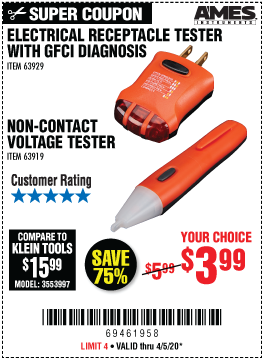 Harbor Freight Tools Coupons, Harbor Freight Coupon, HF Coupons-AMES Non-Contact Voltage Tester for $3.99