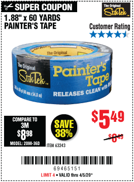 Harbor Freight Tools Coupons, Harbor Freight Coupon, HF Coupons-STIKTEK 60 yd. x 1.88 in. Painter's Tape for $5.49