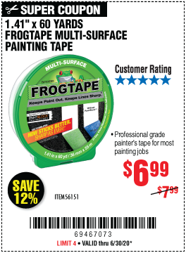 Harbor Freight Tools Coupons, Harbor Freight Coupon, HF Coupons-FROGTAPE 60 Yd. x 1.41 In. FrogTape Multi-Surface Painting Tape for $6.99