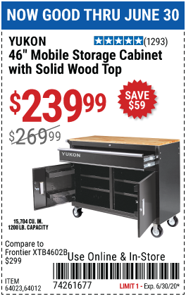 Harbor Freight Tools Coupons, Harbor Freight Coupon, HF Coupons-YUKON 46 in. Mobile Storage Cabinet with Wood Top for $239.99