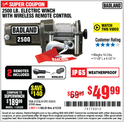 Harbor Freight Tools Coupons, Harbor Freight Coupon, HF Coupons-BADLAND 2500 lb. ATV/Utility Winch for $49.99