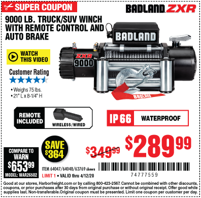 Harbor Freight Tools Coupons, Harbor Freight Coupon, HF Coupons-BADLAND ZXR 9000 lb. Truck/SUV Winch for $289.99