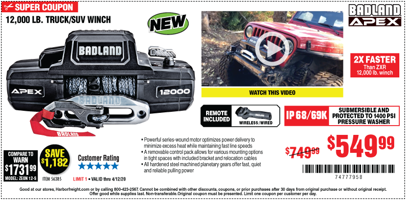 Harbor Freight Tools Coupons, Harbor Freight Coupon, HF Coupons-BADLAND APEX Synthetic 12000 Lb. Wireless Winch for $549.99