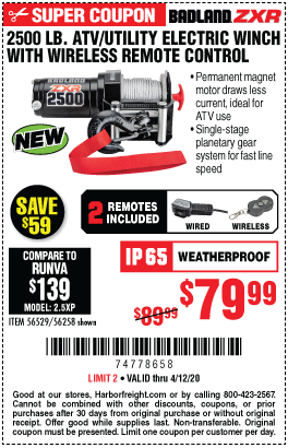 Harbor Freight Tools Coupons, Harbor Freight Coupon, HF Coupons-BADLAND 2500 Lb. ATV/Utility Electric Winch With Wireless Remote Control for $79.99