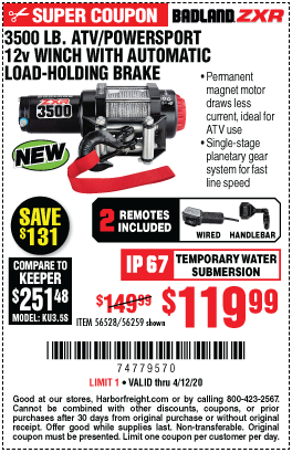 Harbor Freight Tools Coupons, Harbor Freight Coupon, HF Coupons-BADLAND 3500 Lb. ATV/Powersport 12V Winch With Automatic Load-Holding Brake for $119.99