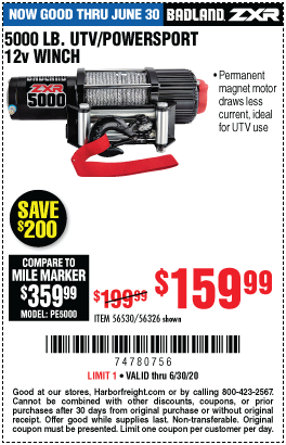 Harbor Freight Tools Coupons, Harbor Freight Coupon, HF Coupons-BADLAND 5000 Lb. UTV/Powersport 12V Winch for $159.99