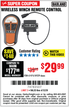 Harbor Freight Tools Coupons, Harbor Freight Coupon, HF Coupons-BADLAND Wireless Winch Remote Control for $29.99