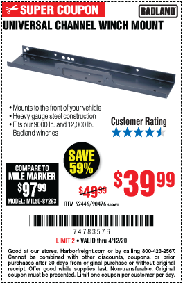 Harbor Freight Tools Coupons, Harbor Freight Coupon, HF Coupons-BADLAND Universal Channel Winch Mount for $39.99