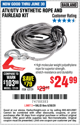 Harbor Freight Tools Coupons, Harbor Freight Coupon, HF Coupons-BADLAND ATV/UTV Synthetic Rope & Fairlead Kit for $24.99