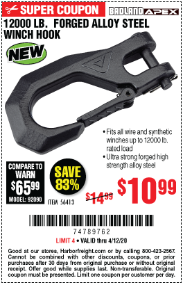 Harbor Freight Tools Coupons, Harbor Freight Coupon, HF Coupons-BADLAND 12000 Lb. Forged Alloy Steel Winch Hook for $10.99