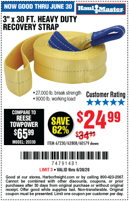 Harbor Freight Tools Coupons, Harbor Freight Coupon, HF Coupons-HAUL-MASTER 9000 lb. Capacity 3 in. x 30 ft. Heavy Duty Recovery Strap for $24.99