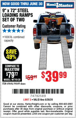 Harbor Freight Tools Coupons, Harbor Freight Coupon, HF Coupons-HAUL-MASTER 1000 lb. Capacity 9 in. x 72 in. Steel Loading Ramps Set of Two for $39.99