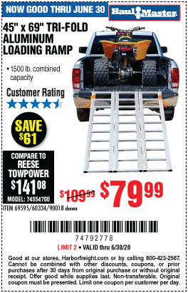 Harbor Freight Tools Coupons, Harbor Freight Coupon, HF Coupons-HAUL-MASTER 1500 lb. Capacity Tri-Fold Aluminum Loading Ramp for $79.99