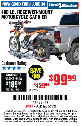 Harbor Freight Tools Coupons, Harbor Freight Coupon, HF Coupons-HAUL-MASTER 400 Lbs. Receiver-Mount Motorcycle Carrier for $99.99