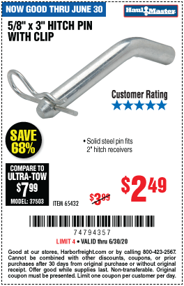Harbor Freight Tools Coupons, Harbor Freight Coupon, HF Coupons-HAUL-MASTER 5/8 in. x 3 in. Hitch Pin with Clip for $2.49