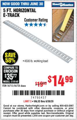 Harbor Freight Tools Coupons, Harbor Freight Coupon, HF Coupons-HAUL-MASTER 5 ft. Horizontal E-Track for $14.99