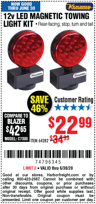 Harbor Freight Tools Coupons, Harbor Freight Coupon, HF Coupons-KENWAY 12V Magnetic LED Towing Light Kit for $22.99