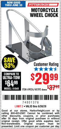 Harbor Freight Tools Coupons, Harbor Freight Coupon, HF Coupons-PITTSBURGH Motorcycle Wheel Chock for $29.99