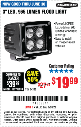 Harbor Freight Tools Coupons, Harbor Freight Coupon, HF Coupons-ROADSHOCK 3 in. LED Flood Light for $19.99