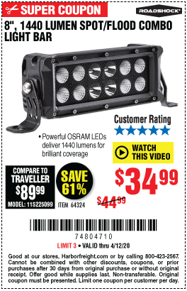 Harbor Freight Tools Coupons, Harbor Freight Coupon, HF Coupons-ROADSHOCK 8 in. Spot/Flood Combo LED Light Bar for $34.99