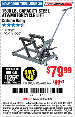 Harbor Freight Tools Coupons, Harbor Freight Coupon, HF Coupons-PITTSBURGH AUTOMOTIVE 1500 lb. Capacity ATV/Motorcycle Lift for $79.99