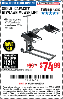 Harbor Freight Tools Coupons, Harbor Freight Coupon, HF Coupons-PITTSBURGH AUTOMOTIVE 300 lb. ATV/Lawn Mower Lift for $74.99