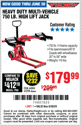 Harbor Freight Tools Coupons, Harbor Freight Coupon, HF Coupons-FISCHER 750 lb. Heavy Duty ATV/Mower High Lift Jack for $179.99