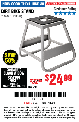 Harbor Freight Tools Coupons, Harbor Freight Coupon, HF Coupons-PITTSBURGH 1000 Lb. Capacity Dirt Bike Stand for $24.99