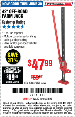 Harbor Freight Tools Coupons, Harbor Freight Coupon, HF Coupons-PITTSBURGH AUTOMOTIVE 42 in. Off-Road Farm Jack for $47.99